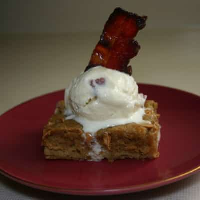 Blondies with Maple Bacon Ice Cream