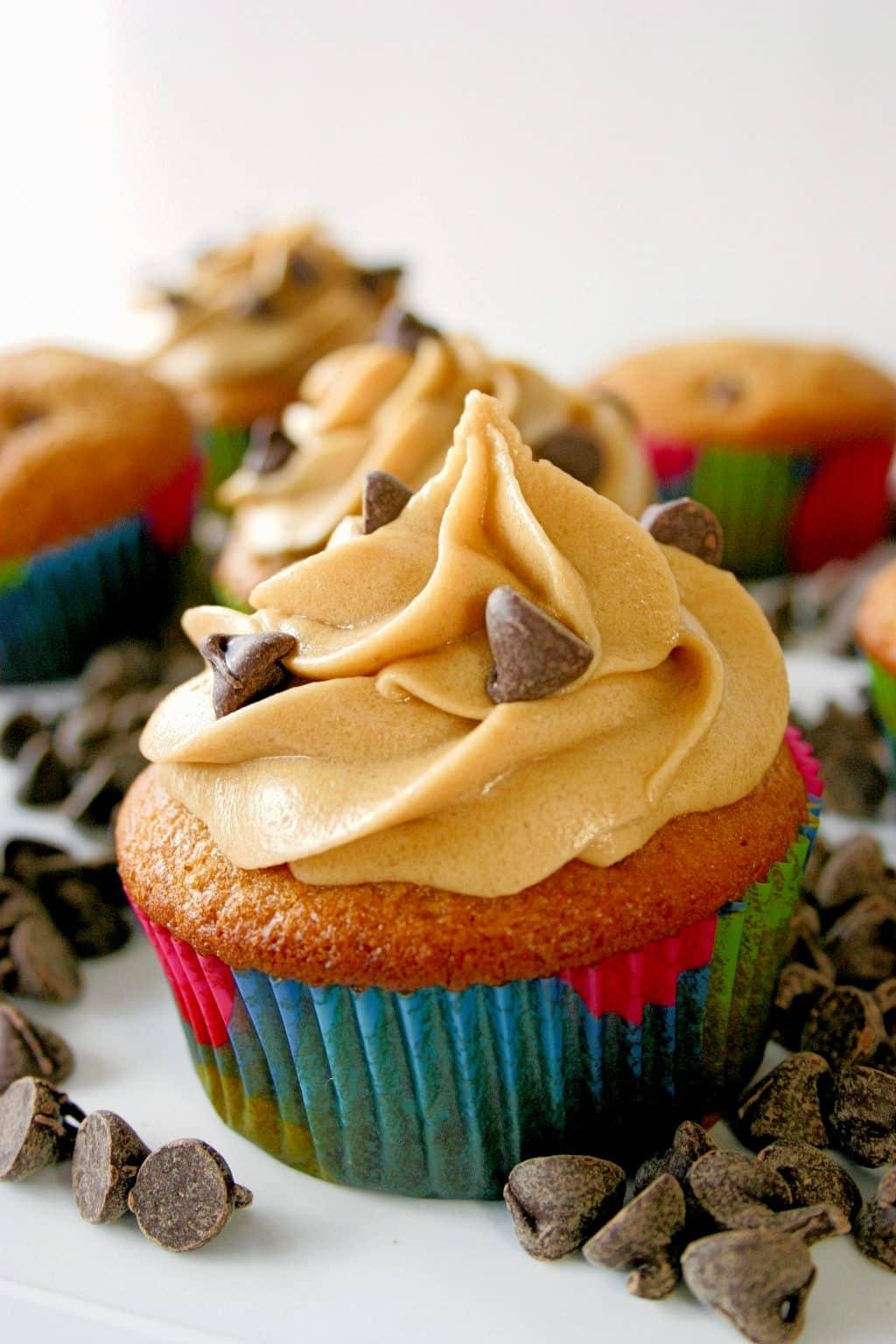 Chocolate Chip Cookie Dough Cupcakes | Kitchen Gidget
