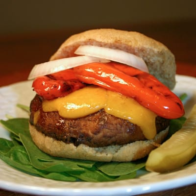 Portobello Burgers with Roasted Peppers