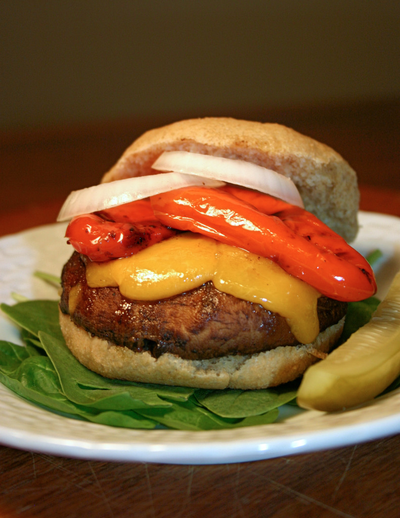 Portobello Burger with Roasted Peppers | Kitchen Gidget
