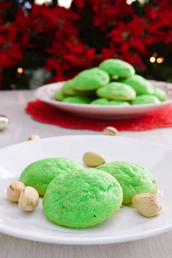 Pistachio Pudding Cookies - easy Christmas cookie recipe that are crisp on the outside with a soft interior!