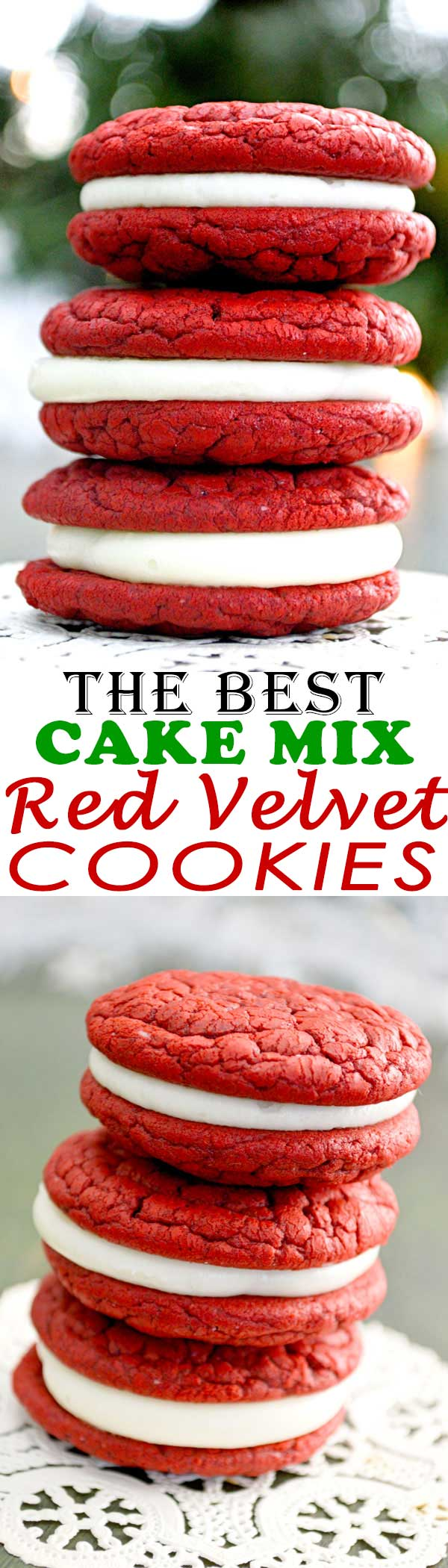 The BEST soft, chewy crinkle top red velvet sandwich cookies stuffed with cream cheese icing! So pretty for Christmas or Valentine's Day! [Recipe tested with Duncan Hines]