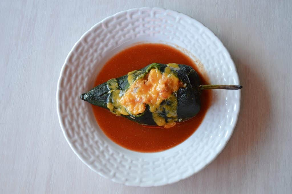 Chile Relleno. Poblano pepper stuffed with tuna, quinoa and vegetables
