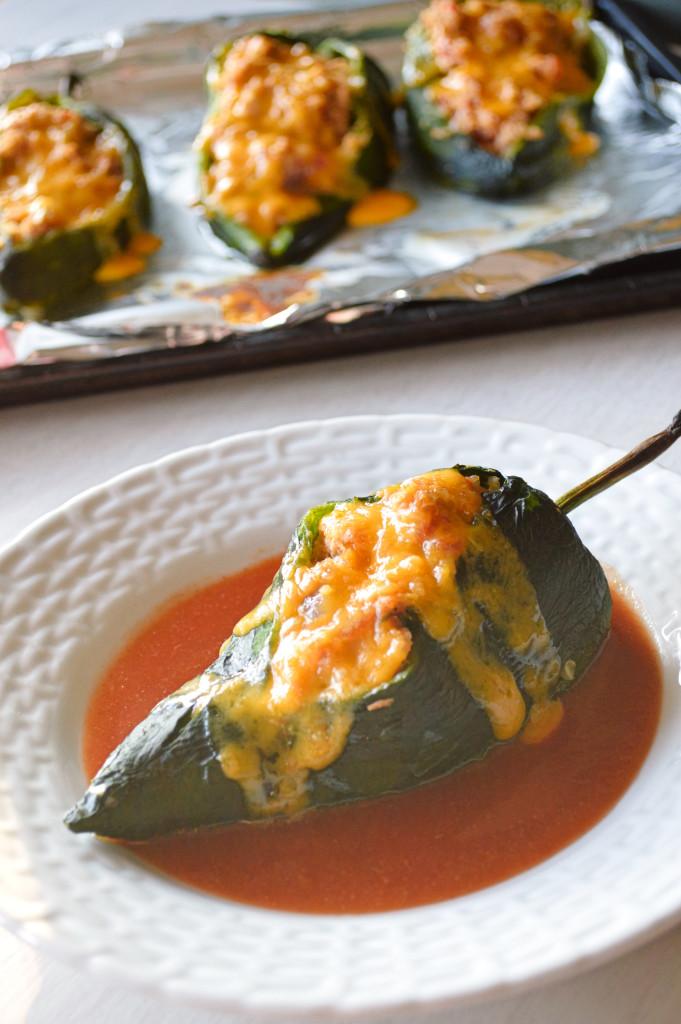 Chiles Rellenos: Tuna and quinoa stuffed in a poblano pepper with a smoky red  sauce! | Kitchen Gidget