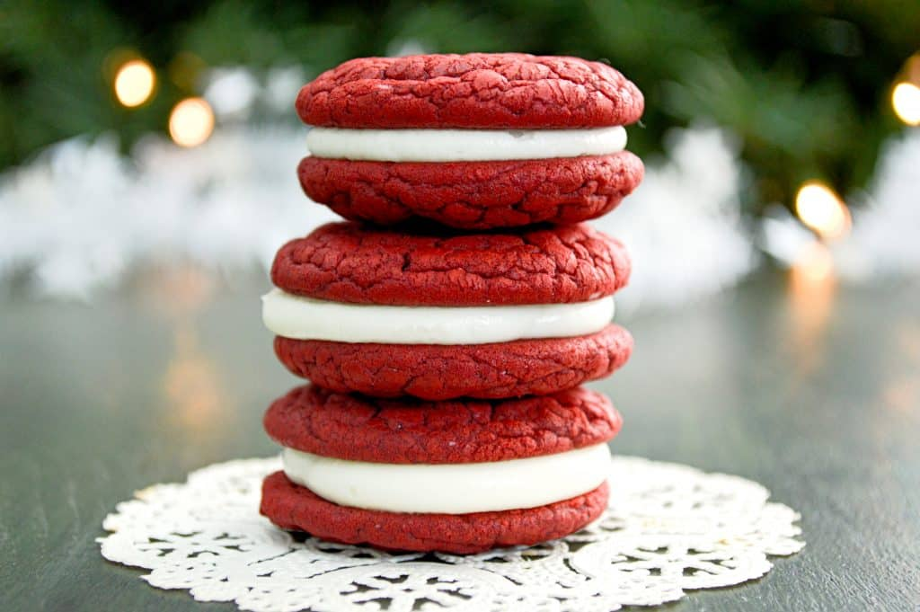 Soft, chewy red velvet cookies with cream cheese frosting! The perfect ...