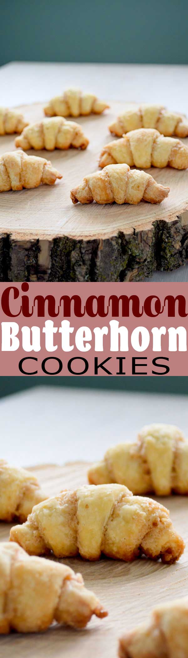 Cinnamon Butterhorn Cookies recipe just like mom used to bake! Buttery German danish with cinnamon sugar caramelized bottoms. #christmascookies