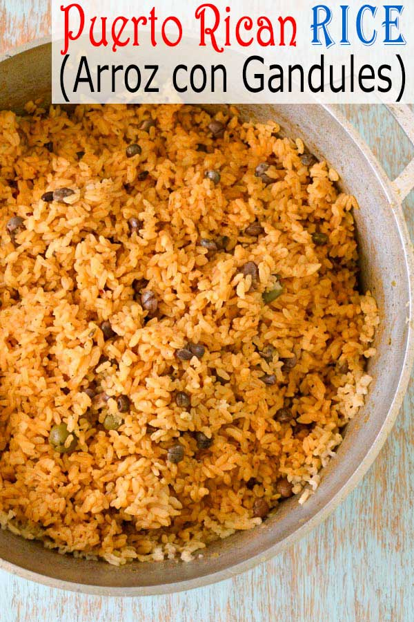 Puerto Rican Rice recipe - Arroz con Gandules (Rice with Pigeon Peas). How to make #arroz with authentic sofrito #puertorico #rice