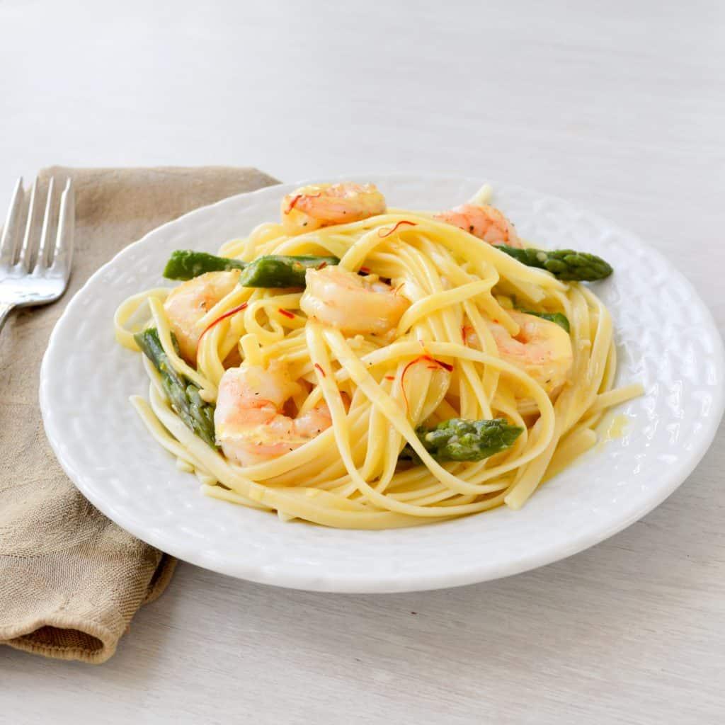 Shrimp Linguine With Saffron Cream Sauce Kitchen Gidget