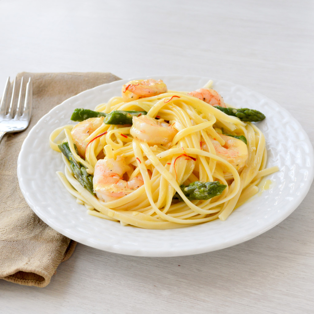 Shrimp Linguine w Saffron Cream Sauce