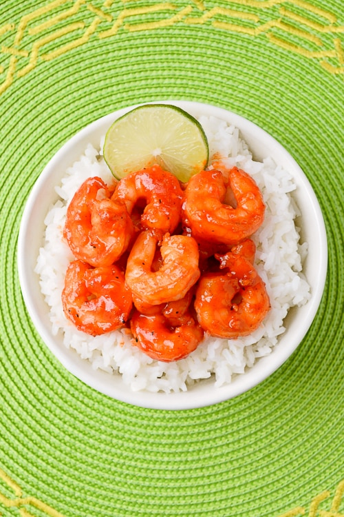 Sweet and Spicy Sriracha Shrimp with a honey lime sauce | Kitchen Gidget
