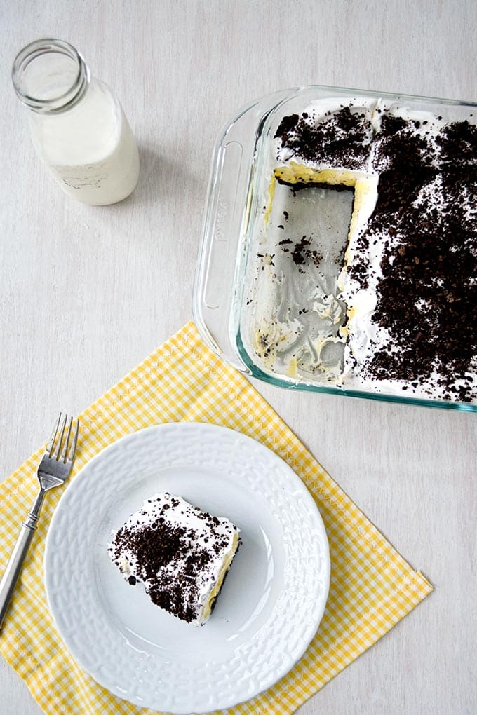 Oreo Cake: layers of pudding, cream cheese and whipped cream | Kitchen Gidget