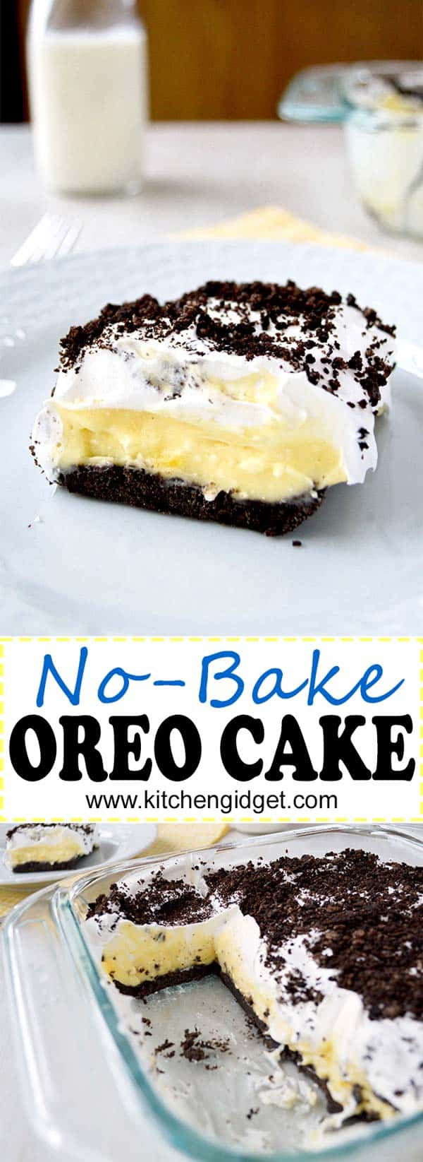 This no bake Oreo Cake is layers of vanilla pudding, cream cheese and cool whip on an Oreo crust! (AKA Oreo Delight, Dessert Lasagna) | #dessert #dessertrecipes #recipe #recipeideas #food #foodblogger #foodgawker #oreos #easyrecipe #recipeoftheday #nobake #chocolate #vanilla