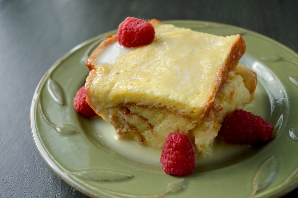 Bread Pudding with White Chocolate and Raspberries