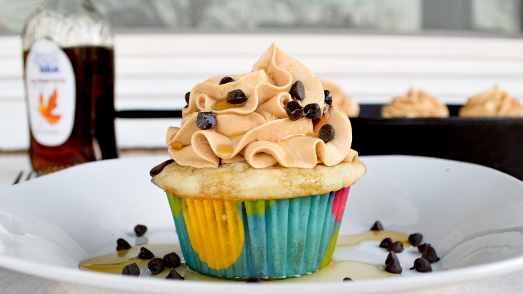 Pancake Cupcakes with Peanut Butter Frosting