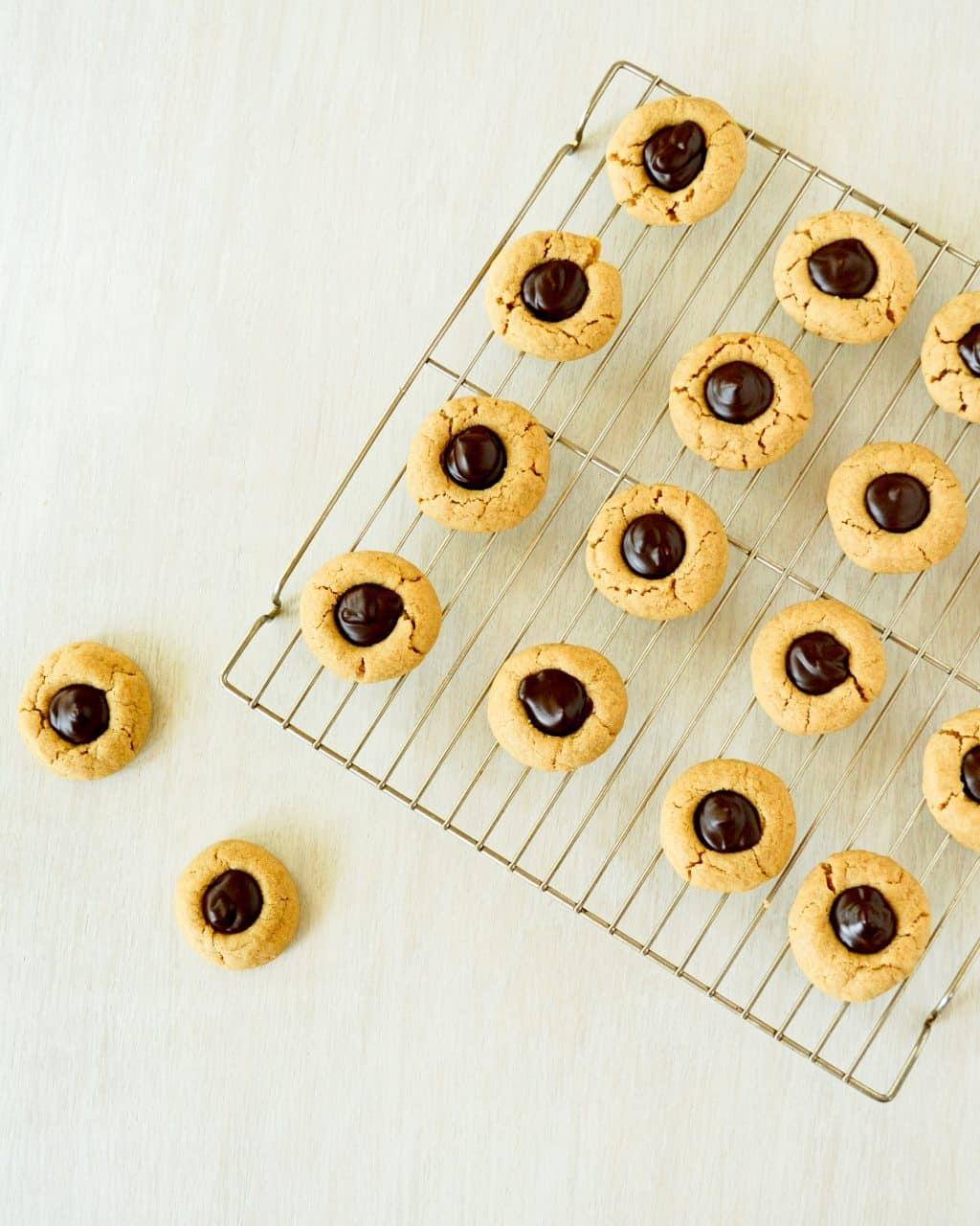 Peanut Butter Chocolate Thumbprint Cookies - Kitchen Gidget