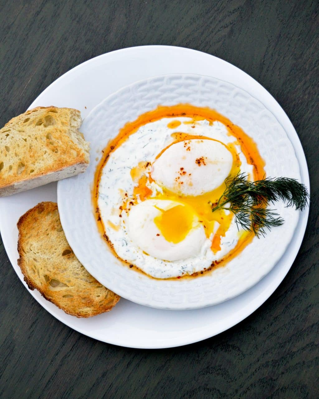 Turkish Eggs: garlicky yogurt, chili butter and poached eggs | Kitchen Gidget