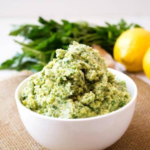 Lemon Artichoke Pesto | Bright, lemony pesto for pasta, sandwiches and more | Kitchen Gidget