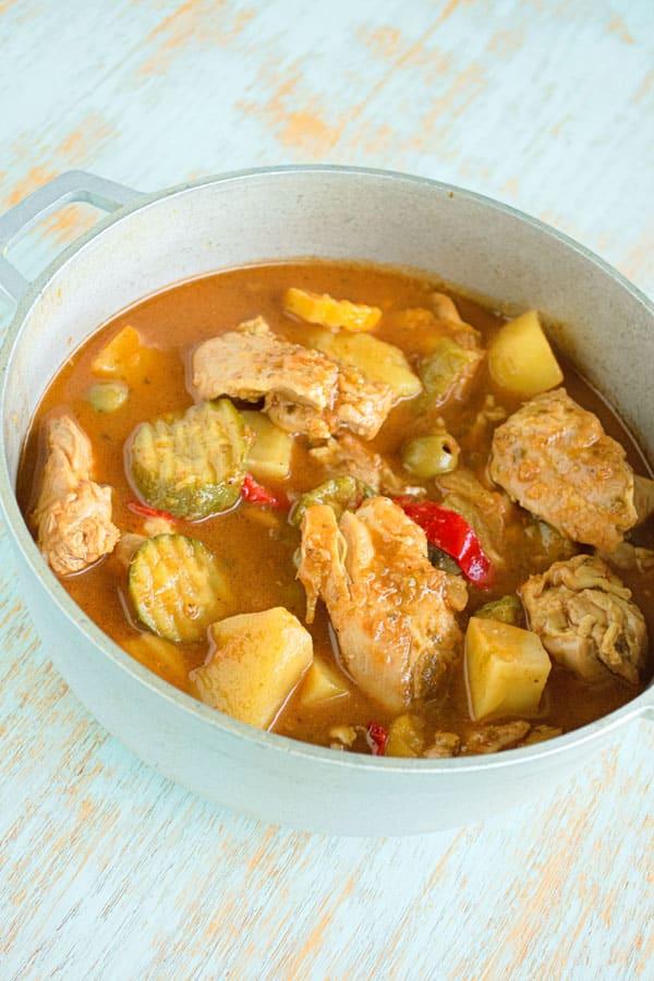 Puerto Rican Chicken Stew (Guisado de Pollo or Pollo en Fricase) with sofrito, tomato, potatoes and olives