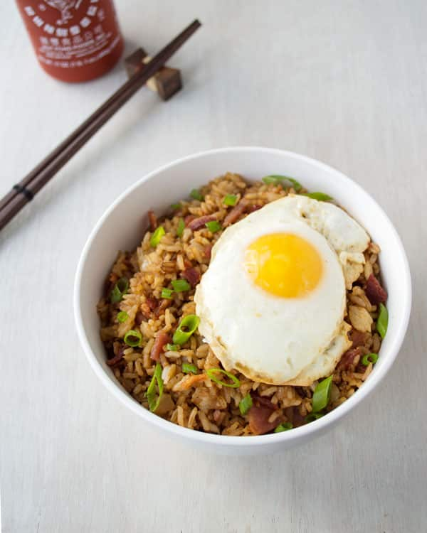 Bacon Fried Rice with a fried egg on top! Quick and easy breakfast, lunch or dinner!
