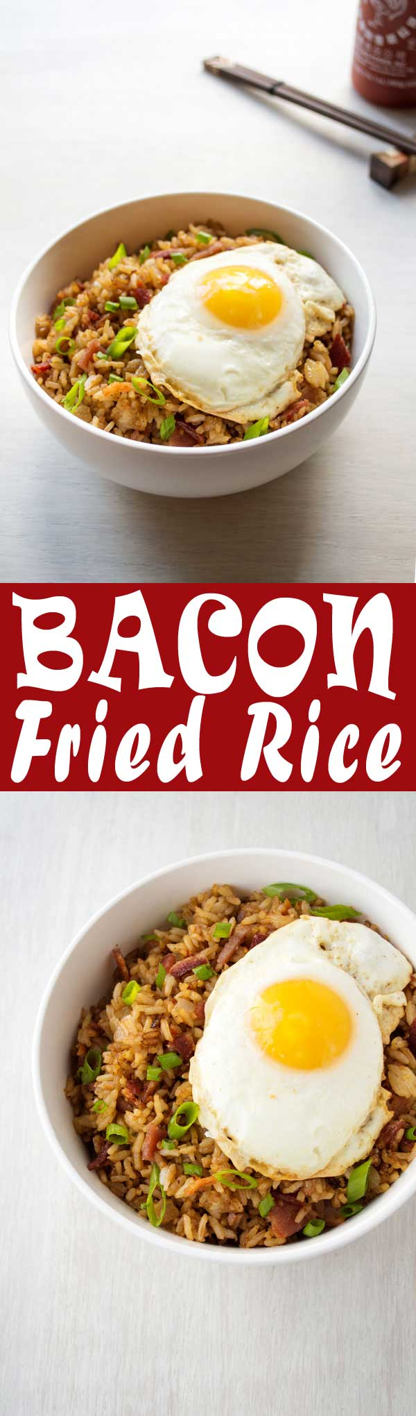Bacon Fried Rice with a fried egg on top! Quick and easy breakfast, lunch or dinner! #recipe #recipeideas #easyrecipe #food #foodgawker #foodblog #recipeoftheday #friedrice #rice #bacon #baconday #eggs #breakfast #lunch #dinner