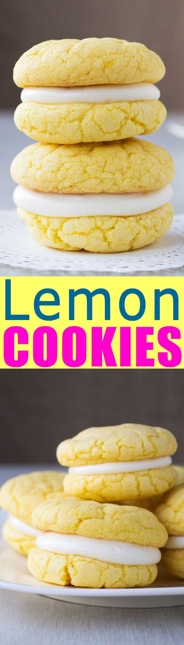 Easy Lemon Sandwich Cookies from cake mix with cream cheese frosting.  So soft and chewy! | #recipe #recipeoftheday #dessert #dessertrecipes #cookies #lemon #creamcheese #food #foodblog #foodgasm #foodgawker #easter #spring #eastercookies