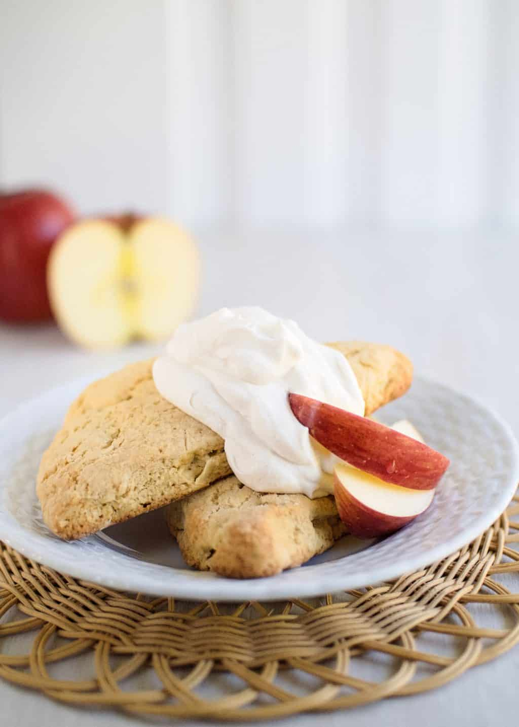 Apple Scones with Cinnamon Whipped Cream | Kitchen Gidget