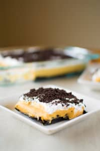 Pumpkin Oreo Delight: aka No-bake Layered Pudding Dessert Lasagna | Kitchen Gidget