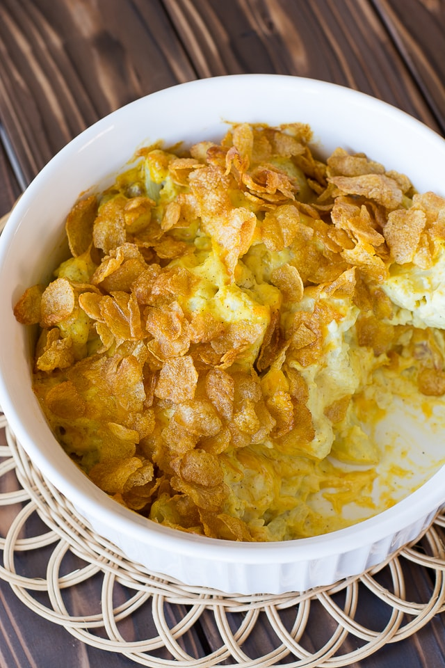 Cauliflower Casserole with a touch of curry. The absolute best way to eat cauliflower! | Kitchen Gidget