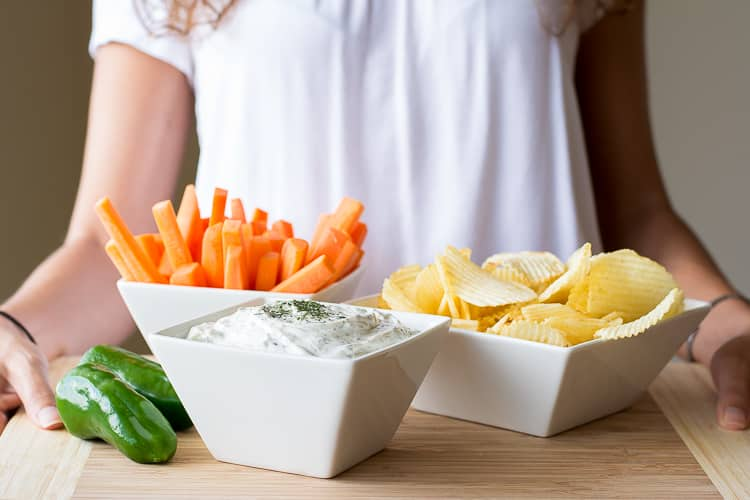 Dill Dip - easy game day or party appetizer with chips and veggies for dipping. So much better homemade! | Kitchen Gidget