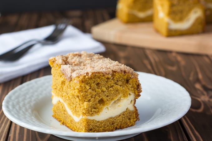 Pumpkin Coffee Cake with cream cheese and streusel topping! | Kitchen Gidget