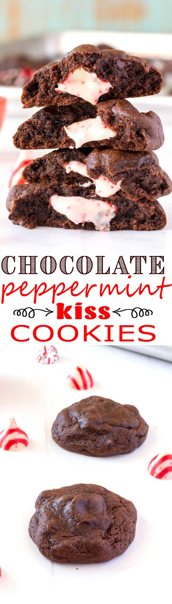 Candy Cane Kiss Cookies recipe - white chocolate peppermint kisses stuffed inside the most fudgy chocolate cookies! #christmas #christmascookies