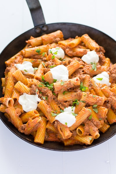 Easy, cheesy Ricotta Pasta with Beef! | Kitchen Gidget