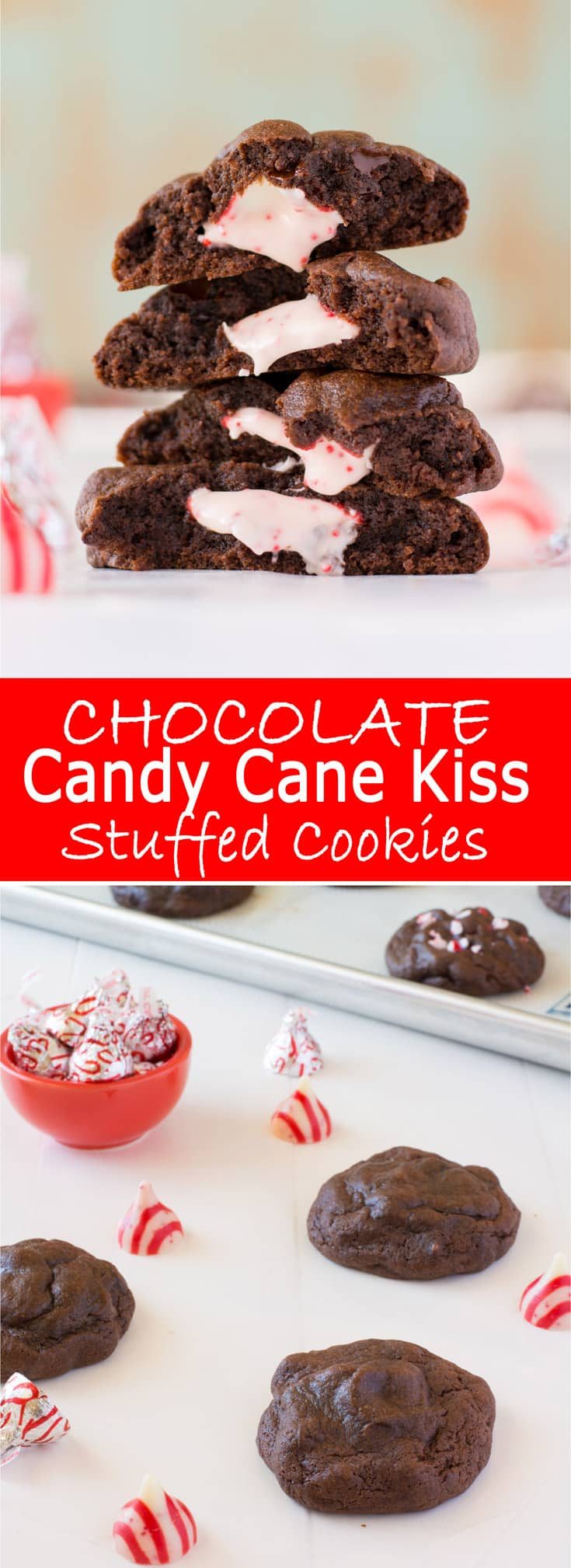 Chocolate Candy Cane Kiss Stuffed Cookies - soft and fudgy chocolate pudding cookies stuffed with peppermint swirled kisses and 5 types of chocolate to satisfy your cravings! | Kitchen Gidget