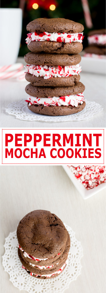 Peppermint Mocha Cookies: soft, chewy chocolate and espresso cookies filled with peppermint cream cheese frosting! | Kitchen Gidget