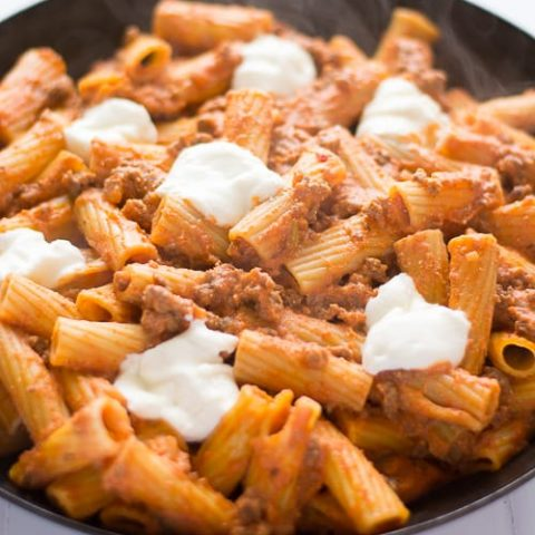Easy, cheese Ricotta Pasta with Beef! | Kitchen Gidget