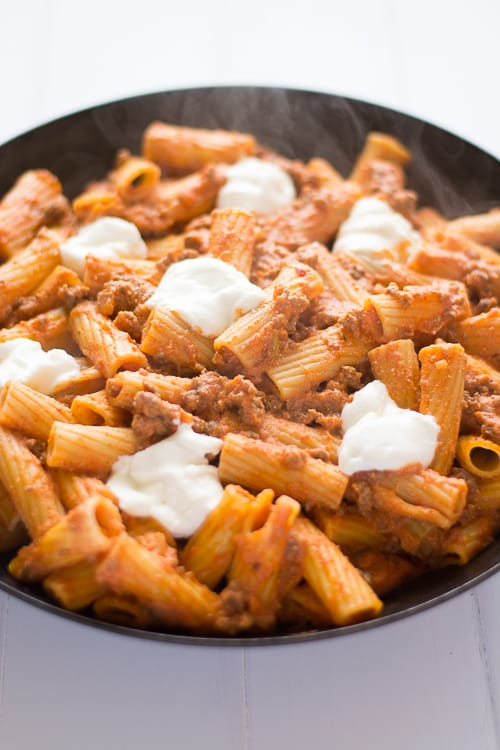Easy, cheesy Ricotta Pasta with Ground Beef! | This skillet dinner was such an easy weeknight meal and way better than hamburger helper! | Kitchen Gidget