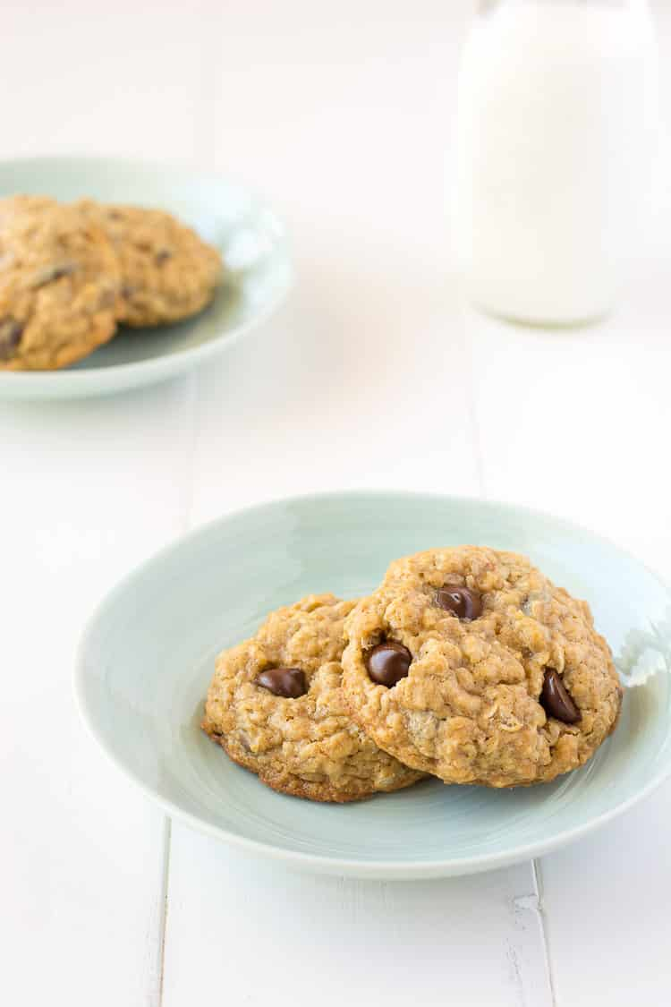Chocolate Chip Oatmeal Pudding Cookies - extra soft and chewy! | Kitchen Gidget