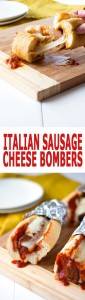 Slow Cooker Italian Sausage Cheese Bombers - easy and amazing for dinner or a party! | Kitchen Gidget