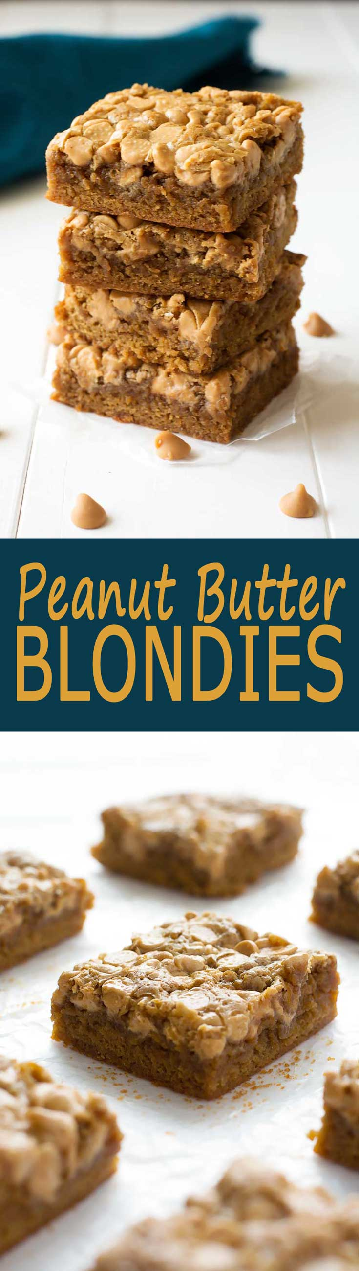 Soft and chewy Peanut Butter Chip Blondies - the peanut butter ...