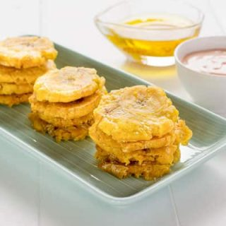 Puerto Rican Tostones (Fried Plantains) with 2 dippings sauces: MayoKetchup & Mojo de Ajo (Garlic Oil) | Kitchen Gidget