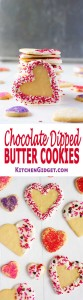 Chocolate Dipped Butter Cookies: tender-crisp, melt-in-your-mouth Valentine's Day cutout cookies! | Kitchen Gidget