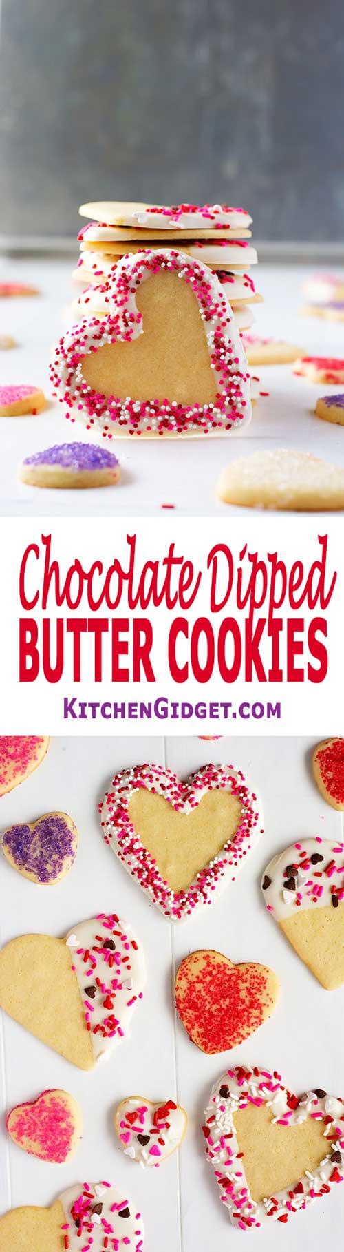 Chocolate Dipped Butter Cookies: crispy Land O Lakes recipe melt in your mouth cut out cookies with sprinkles! Perfect for Valentine's Day or Christmas! #cookies #cookierecipes #valentines #valentinesday