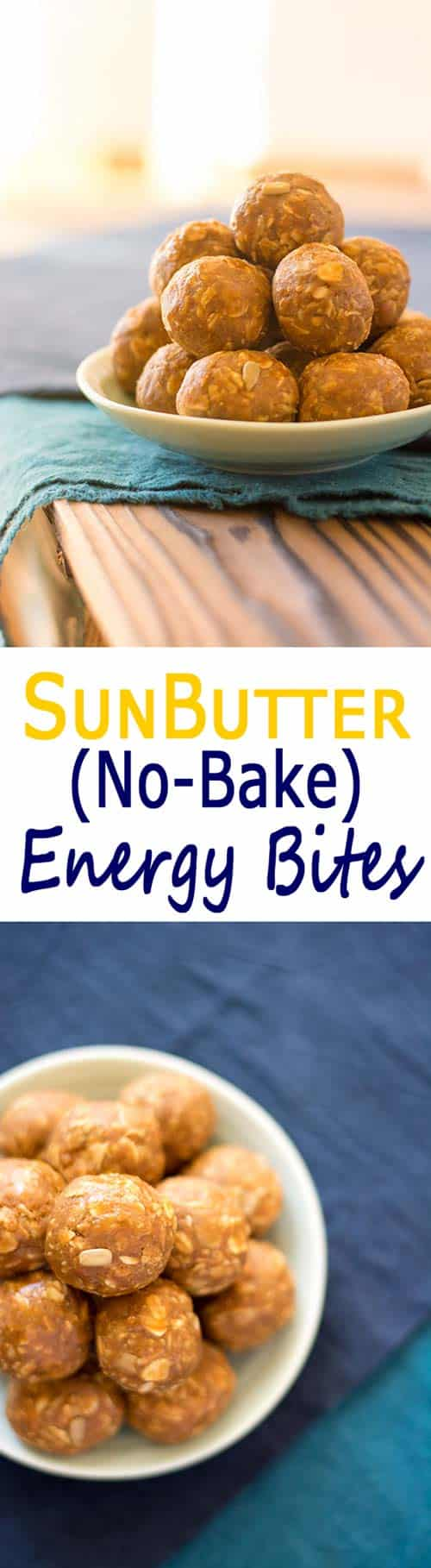 SunButter No Bake Energy Bites: healthy snack balls that taste like oatmeal cookies with no refined sugar! #cleaneating #realfood | Kitchen Gidget