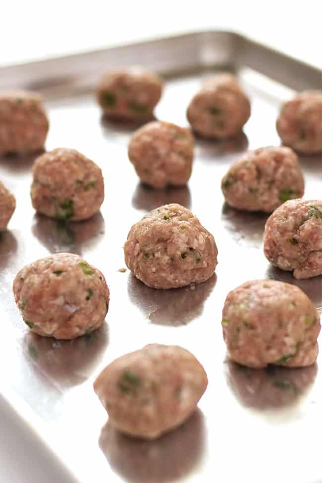 Thai meatballs with chicken or turkey spiced with ginger, garlic & cilantro. Healthy, clean eating! | Kitchen Gidget