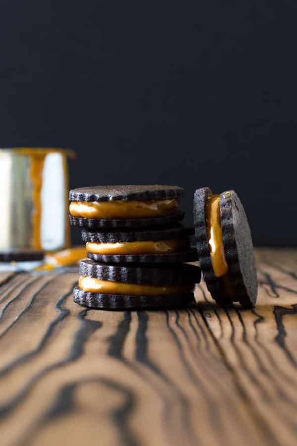 Decadent dark Chocolate Dulce de Leche Cookies. The caramel starts from a can of sweetened condensed milk - so easy! | Kitchen Gidget