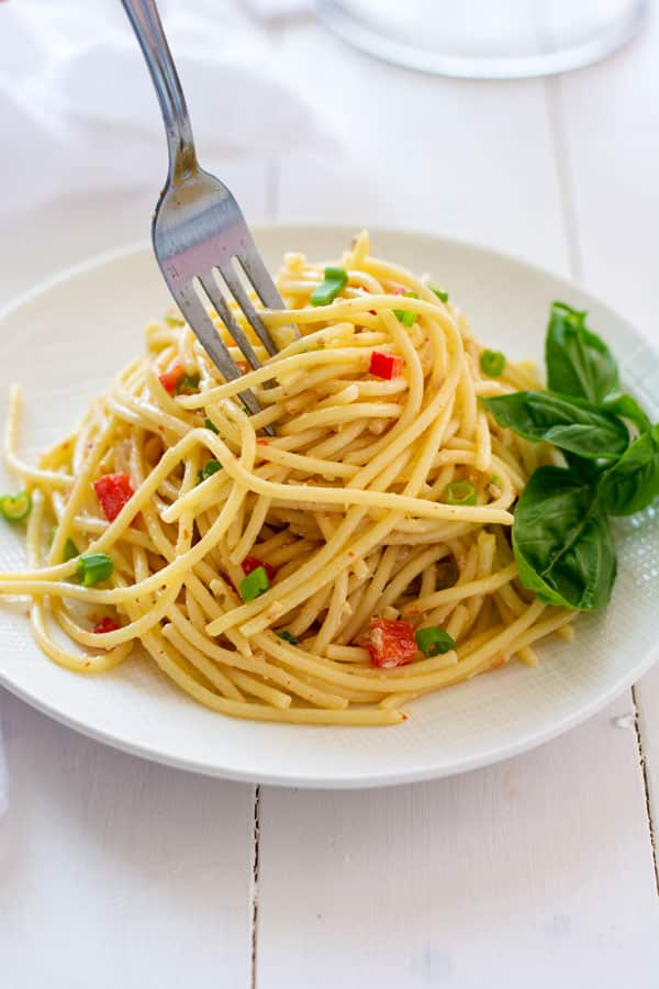 Chilled spaghetti salad with Italian dressing and a little mayonnaise. The zesty-creamy combo is the best of both worlds!