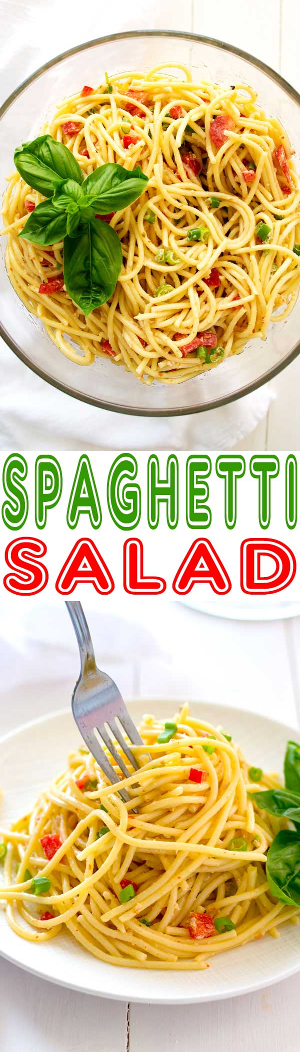 Cold spaghetti salad with Italian dressing and a little mayonnaise for a zesty-creamy combo! Easy summer dish with only a few ingredients!