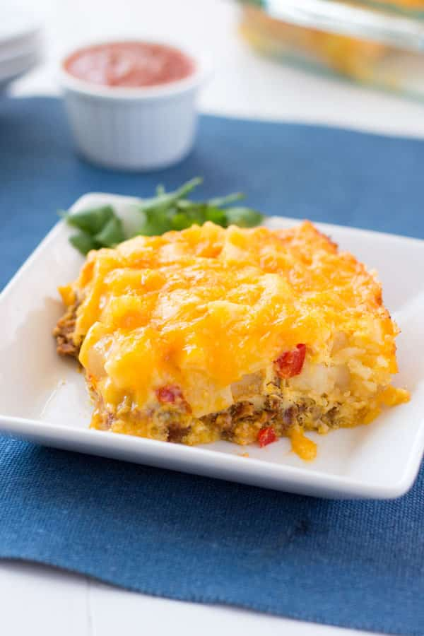 Southwestern Breakfast Casserole with chorizo sausage, hash browns and cheese! Take breakfast from boring to flavor-town with this easy egg bake!