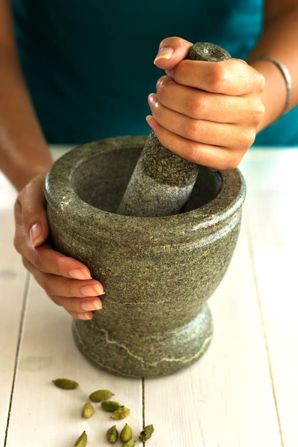 How to grind cardamom with mortar and pestle for maple lassi recipe