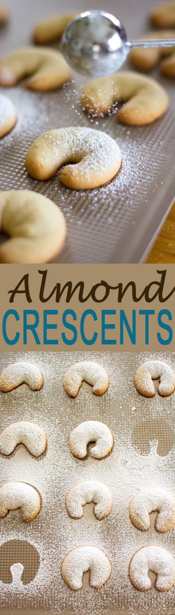 Almond Crescent Cookies (Vanille Kipferl) are popular German Christmas cookies dusted with powdered sugar. Best dessert made during the holidays with family! #christmascookies